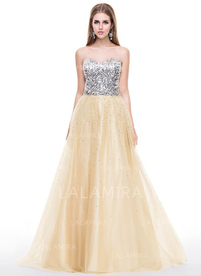 Tulle Sequined Strapless Sweetheart A-Line/Princess Prom Dresses (018058780)
