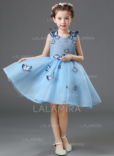 A-Line/Princess Knee-length Flower Girl Dress - Organza/Satin Sleeveless Scoop Neck With Flower(s) (010093511)