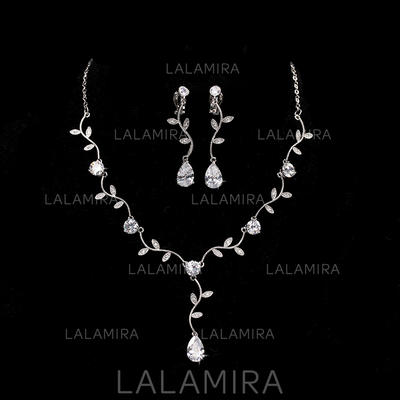 Jewelry Sets Alloy/Zircon Cubic Zirconia Lobster Clasp Earclip Wedding & Party Jewelry (011168170)