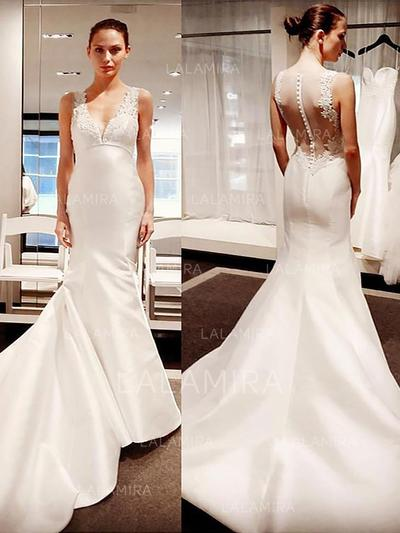 Appliques Trumpet/Mermaid With Satin Wedding Dresses (002148029)