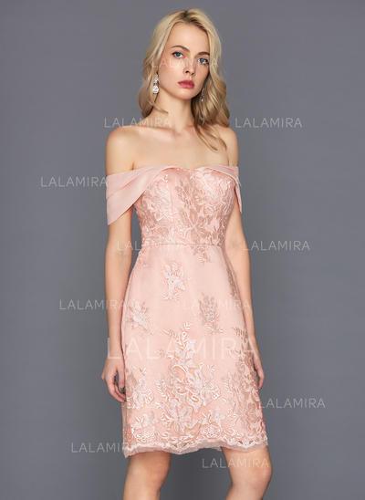 Sheath/Column Off-the-Shoulder Knee-Length Lace Cocktail Dress (016124587)