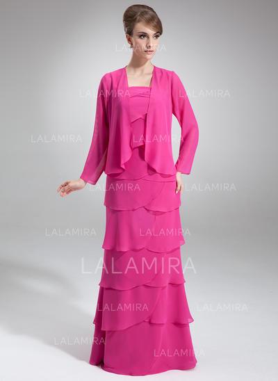 Elegantti Lattiaa hipova pituus A-linjainen/Prinsessa Sifonki Morsiamen äiti-mekot (008211028)