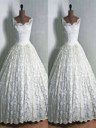 V-neck Ball-Gown - Lace Wedding Dresses (002210873)