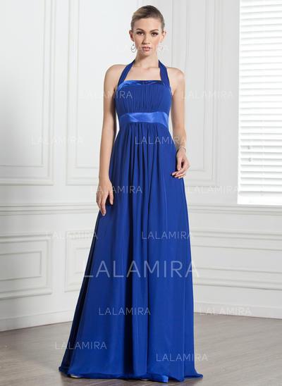 Empire Chiffon Bridesmaid Dresses Ruffle Bow(s) Halter Sleeveless Floor-Length (007000868)