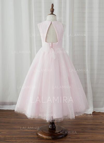 Forme Princesse Longueur mollet Robes à Fleurs pour Filles - Tulle Sans manches Col rond avec Trou noir (010153221)