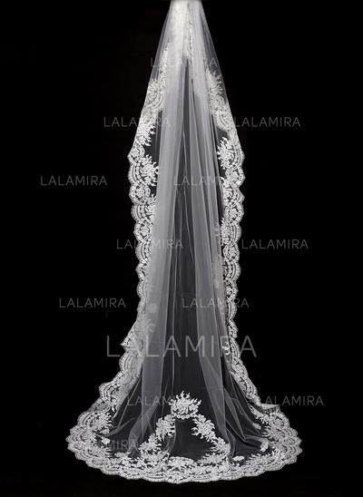 Cathedral Bridal Veils Tulle One-tier Drop Veil With Lace Applique Edge Wedding Veils (006151875)