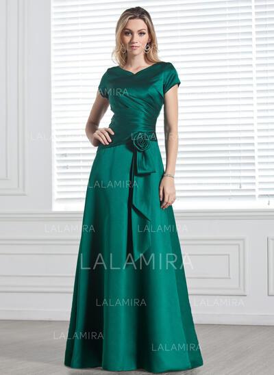A-formet/Prinsesse V-hals Gulvlengde Satin Brudepikekjole med Frynse Blomst(er) (007001491)