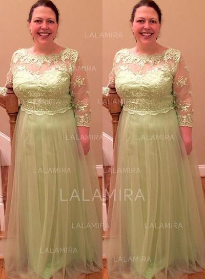 Forme Princesse Col rond Tulle Le plus récent Robes mère de la mariée (008212797)