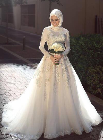 General Grande Corte A/Princesa Tul Moda Vestidos de novia con Mangas largas (002217912)