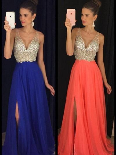 A-Line/Princess Chiffon Prom Dresses Beading V-neck Sleeveless Floor-Length (018210234)