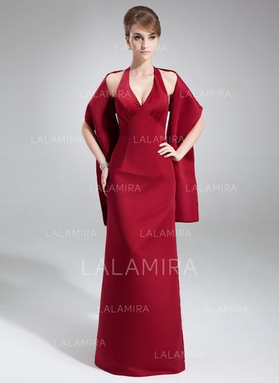 Sheath/Column Floor-Length Satin Floor-Length Bridesmaid Dresses (007001453)
