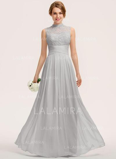 Corte A Gola alta Longos Tecido de seda Renda Vestido de festa com Pregueado (017208810)