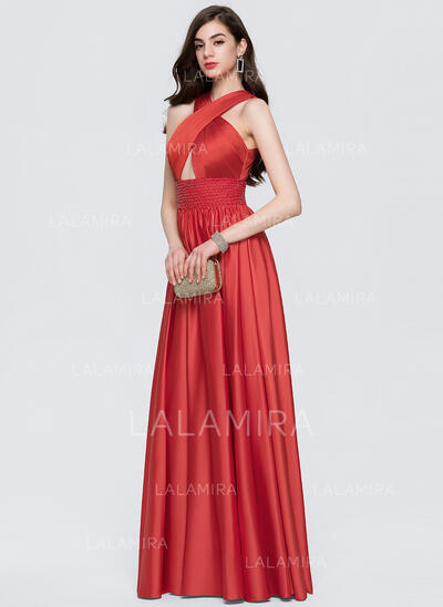 A-Line/Princess Scoop Neck Floor-Length Satin Prom Dresses With Beading (018146347)