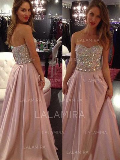 Longos Sem Alças Tecido de seda Vestidos princesa/ Formato A Vestidos de baile (018218579)