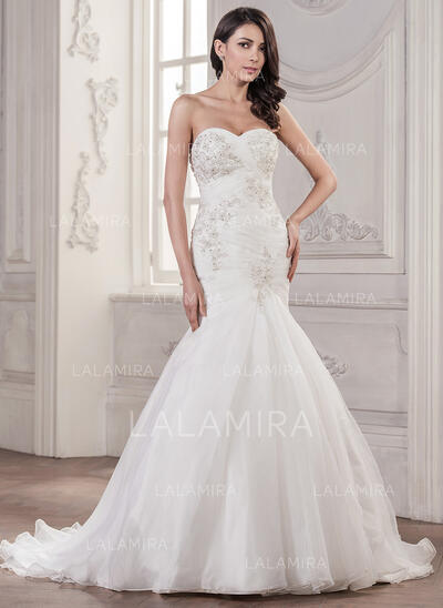 Trumpet/Mermaid Sweetheart Court Train Organza Wedding Dress With Ruffle Beading Appliques Lace Sequins (002056941)