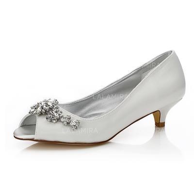 Frauen Peep-Toe Färbbare Schuhe Niederiger Absatz Satin mit Strass Brautschuhe (047205937)