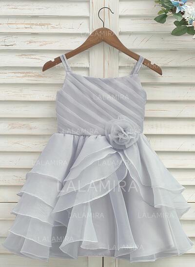 Forme Princesse Longueur genou Robes à Fleurs pour Filles - Organza/Satiné Sans manches Bretelles avec Plissée (010141199)
