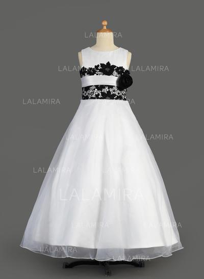 Glamour Forme Princesse Dentelle Sans manches Organza/Satiné Robes de demoiselle d'honneur - fillette (010014611)