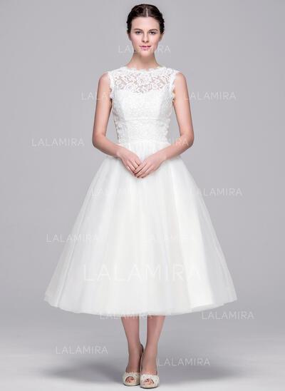 Robe Marquise/Princesse Illusion Longueur mollet Tulle Dentelle Robe de mariée (002071575)