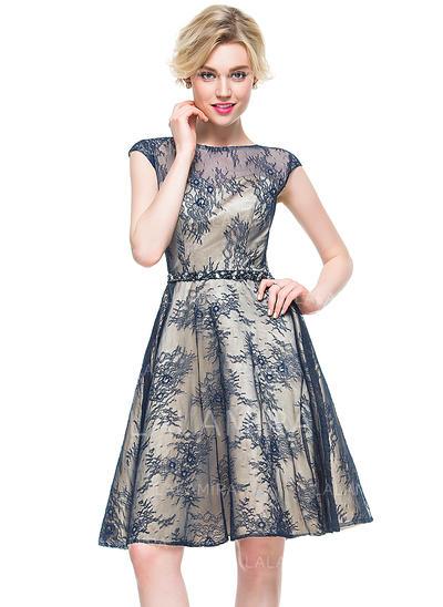 Estonteante Vestidos princesa/ Formato A Decote redondo Renda Vestidos de cocktail (016081174)