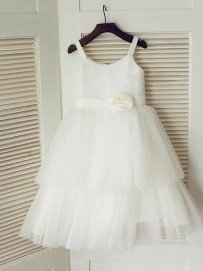 Scoop Neck A-Line/Princess Flower Girl Dresses Tulle/Sequined Flower(s) Sleeveless Tea-length (010211986)