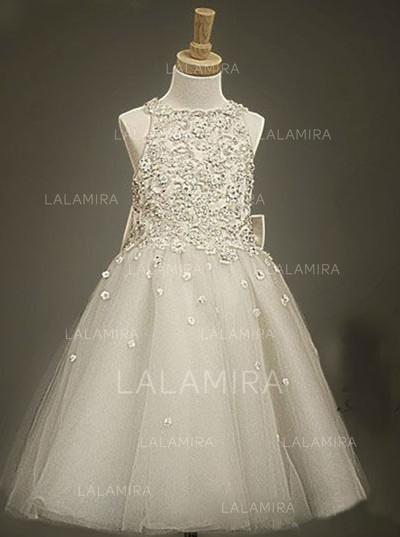 Beautiful Scoop Neck A-Line/Princess Flower Girl Dresses Tea-length Tulle/Lace Sleeveless (010146817)