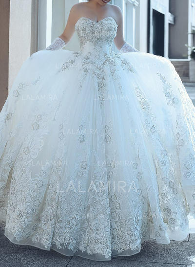 Sleeveless Cathedral Train Tulle Ball-Gown Wedding Dresses (002146926)