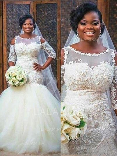 Trumpet/Mermaid Scoop Floor-Length Wedding Dresses With Appliques Lace (002217908)