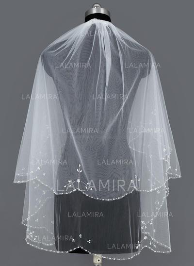 Elbow Bridal Veils Tulle Two-tier Cascade With Beaded Edge Wedding Veils (006151088)