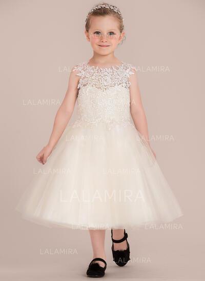 Forme Princesse Longueur genou Robes à Fleurs pour Filles - Tulle/Dentelle Sans manches Col rond avec Motifs appliqués Dentelle (010132405)