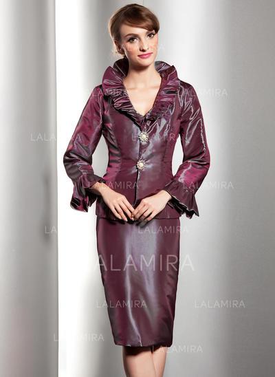 Halagador Escote en V Vestido tubo Tafetán Vestidos de madrina (008211357)