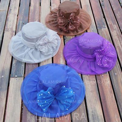 Señoras' Hermoso Organdí con Bowknot Disquete Sombrero (196121054)