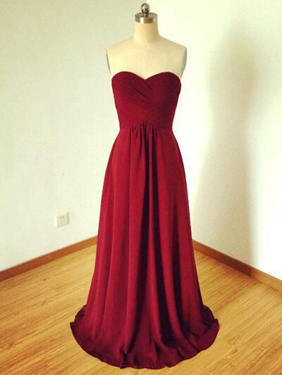Floor-Length Sweetheart A-Line/Princess Chiffon Bridesmaid Dresses (007211710)