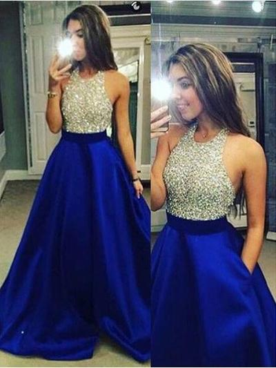 A-Line/Princess Satin Prom Dresses Gorgeous Floor-Length Halter Sleeveless (018148498)
