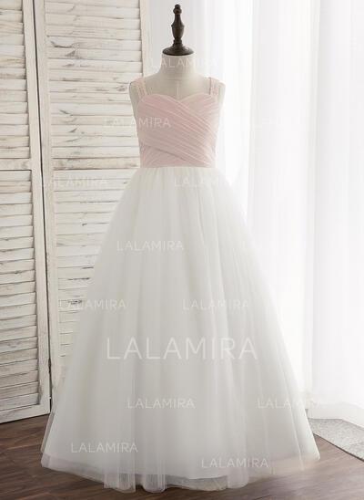 Vestidos princesa/ Formato A Longos Vestidos de Menina das Flores - Tecido de seda/Tule/Renda Sem magas alças de ombro com Plissada (010148817)