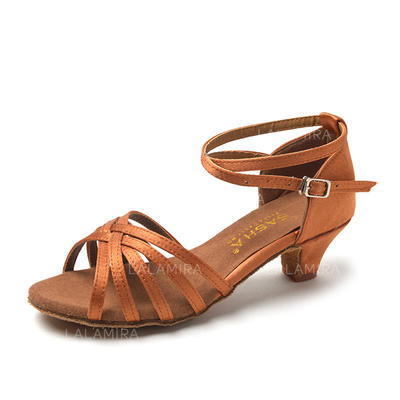 Women's Latin Sandals Satin Leatherette With Buckle Hollow-out Dance Shoes (053181967)