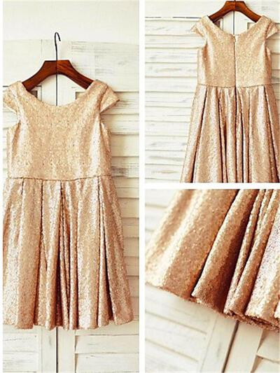 Scoop Neck A-Line/Princess Flower Girl Dresses Sequined Sequins Sleeveless Tea-length (010211970)