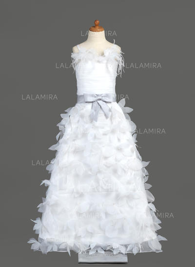 Organza/Charmeuse A-Line/Princess Sash/Feather/Flower(s)/Bow(s) Flower Girl Dresses (010005781)