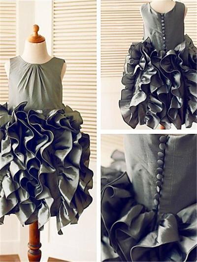 Scoop Neck Ball Gown Flower Girl Dresses Taffeta Ruffles Sleeveless Tea-length (010211855)