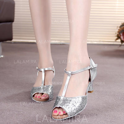 Women's Latin Heels Sandals Leatherette Sparkling Glitter With T-Strap Buckle Dance Shoes (053175945)