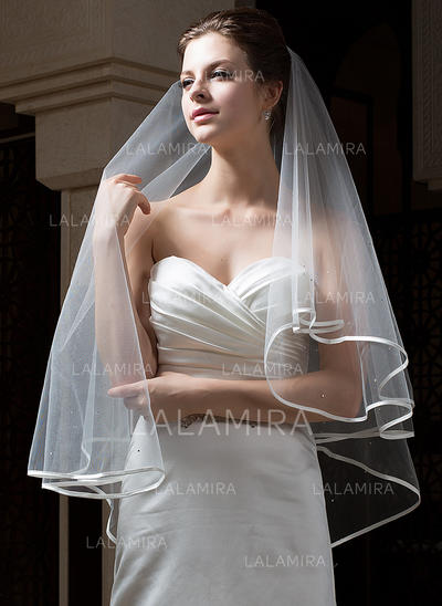 Fingertip Bridal Veils Tulle Two-tier Classic With Ribbon Edge Wedding Veils (006151159)