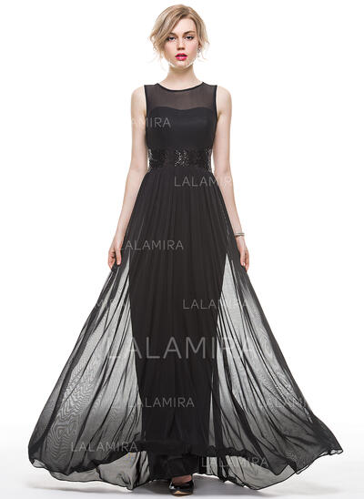 A-Line Scoop Neck Floor-Length Jersey Evening Dress With Sequins (017083843)