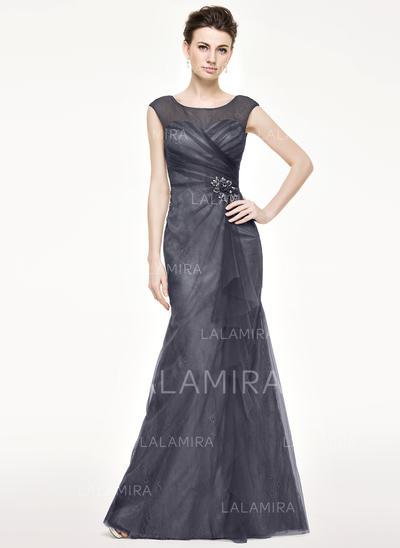 Sencillo Hasta el suelo Corte trompeta/sirena Tul Encaje Vestidos de madrina (008211121)