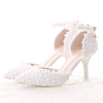 Women's Pumps Sandals Stiletto Heel Patent Leather With Feather Rhinestone Sequin Lace-up Wedding Shoes (047207667)
