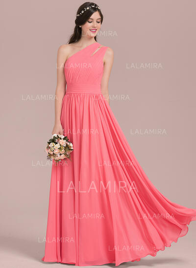 A-Line/Princess One-Shoulder Floor-Length Chiffon Evening Dress With Ruffle (017144989)