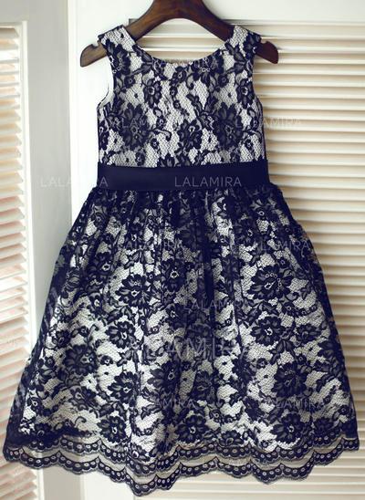Gorgeous Scoop Neck A-Line/Princess Flower Girl Dresses Knee-length Lace Sleeveless (010196733)