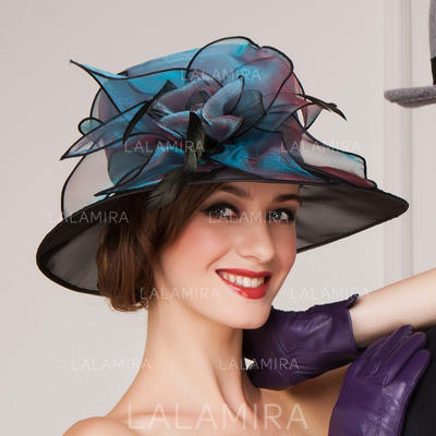 7f4ac421396 Organza With Feather Bowler Cloche Hat Beautiful Ladies  Hats (196193638).  Loading zoom