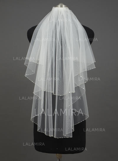Elbow Bridal Veils Tulle Two-tier Angel cut/Waterfall With Sequin Trim Edge Wedding Veils (006151204)