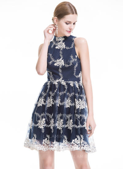 Sexy A-Line/Princess High Neck Tulle Lace Cocktail Dresses (016079900)