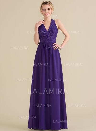 A-Line/Princess Halter Floor-Length Chiffon Lace Bridesmaid Dress With Bow(s) (007144773)